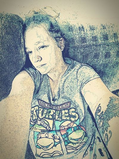 Day Close-up One Person Indoors  Selfie ✌ Messing Around With Filters  Just Me Got No Sleep Sleepy Mama Sioux Falls South Dakota TMNT🐢 Turtle Power Pj's✌ Tattooedmom