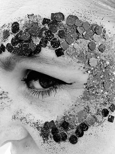 One Woman Only One Person Adult One Young Woman Only Beautiful Woman Close-up Human Eye Beauty Eyelash Face Art Face Glitter The Woman I Love Black And White Friday