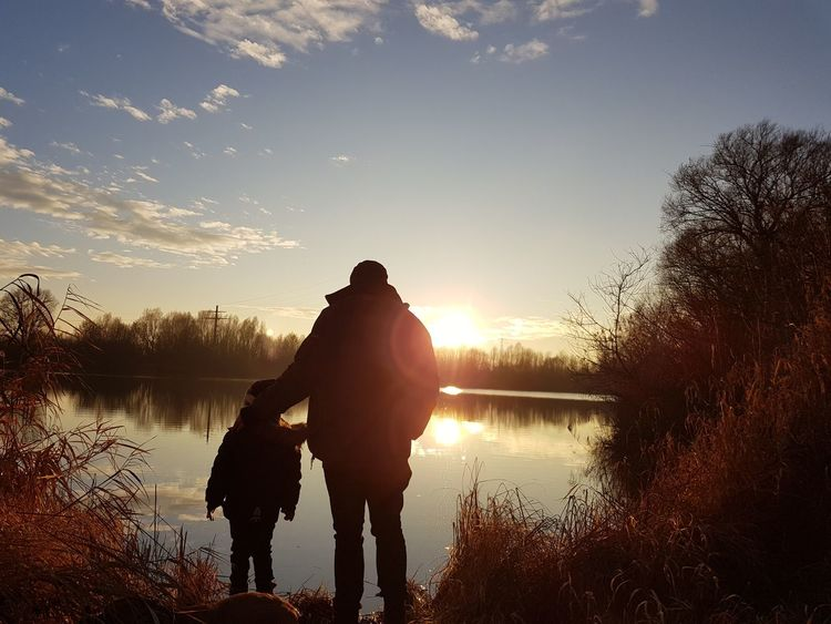 nothing without Daddy Donau #trees Winter Daddy And Son Woods Silhouette One Person Only Men People Adult One Man Only Sunset Sky Men Nature Real People Outdoors Lake