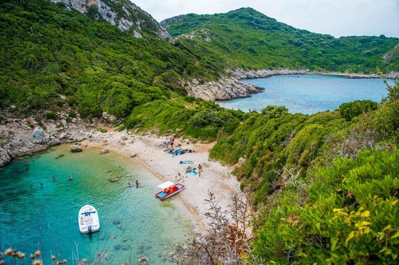 High angle view of greek beach from corfu