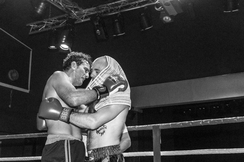 Fighters hug