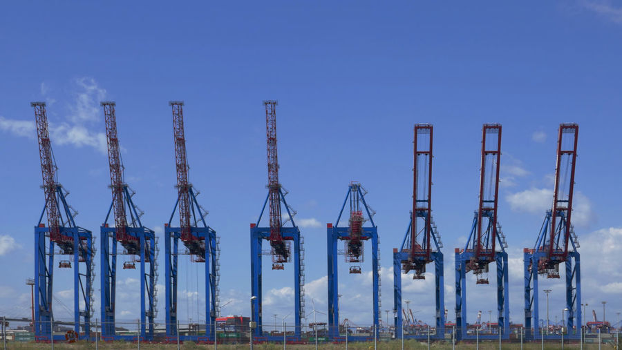 Panoramic view of commercial dock against clear blue sky