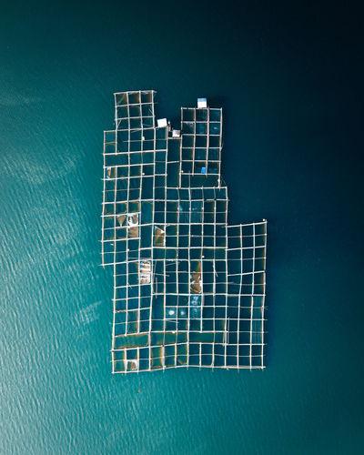 Aerial view of fish farm at batur lake in bali