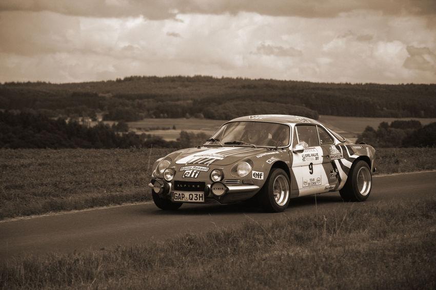 Eifel-rallye-festival Rallye Car Transportation Historic Rallye Car Old Style Oldtimer Renault Alpine Sepia