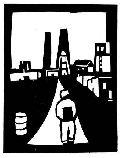 Industry Work Art Boring Job Earn Money  Illustration Industrie Job On The Way To Work, Black And White, PAper Cut Profession Silhouette Out Of Paper,