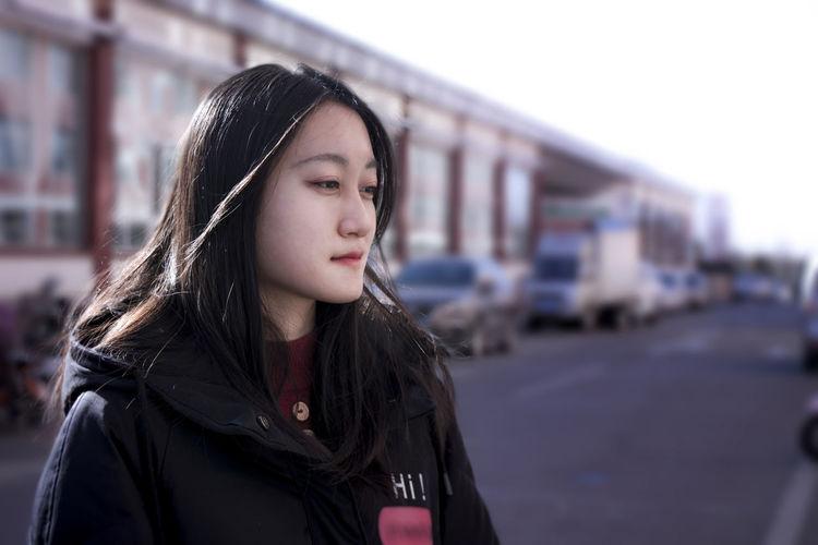Worried Girl Friends Amaizing Portrait Young Women Long Hair Teenager Beauty Headshot