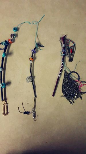 High Angle View Indoors  No People Day Crafts Sticks Beads Charms Wind Catchers