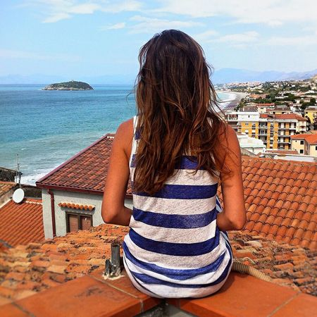 Selfportrait Women Peaceful View Meditation Mediterranean  Miles Away Homesweethome Seascape Southern Italy South Calabria Diamante  Smalltown Happyme Fashion Hair Longhair Rear View Island Lines Terrace
