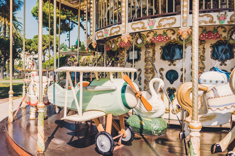 Carousel Amusement Park Amusement Park Ride Representation Animal Representation No People Absence Day Arts Culture And Entertainment Outdoors Carousel Horses Transportation Mode Of Transportation Horse Empty Architecture Domestic Scooter Motor Scooter Merry-go-round Wheel Sunny Day Happy Time