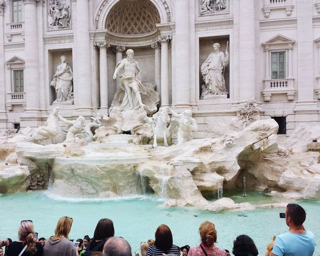 tourists Fontana Di Trevi Water City Statue Sculpture Architecture Built Structure Fountain Visiting Historic History Moving Around Rome Stories From The City EyeEmNewHere Adventures In The City