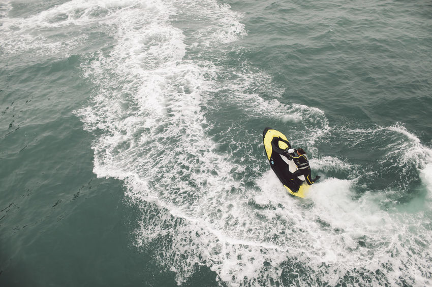 Adventure Beauty In Nature Brighton Day Leisure Activity Lifestyles Motion Nature Outdoors Rippled Sea Ski Jet Skijet Surfing Tranquility Water Waterfront Wave A Bird's Eye View Dramatic Angles