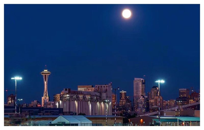 Seattle lit up at night