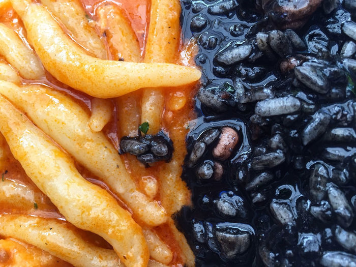 Close-up of squid ink with pasta