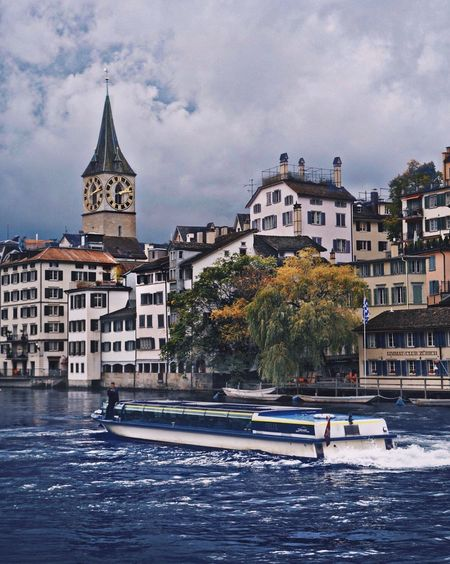 Architecture Water Built Structure Cloud - Sky Sky Building Exterior Waterfront Day Nautical Vessel River Outdoors Travel Destinations Tree Vacations No People Nature Zurich, Swiss Zurich, Switzerland Zürich My City Zürich Limmat Limmatquai