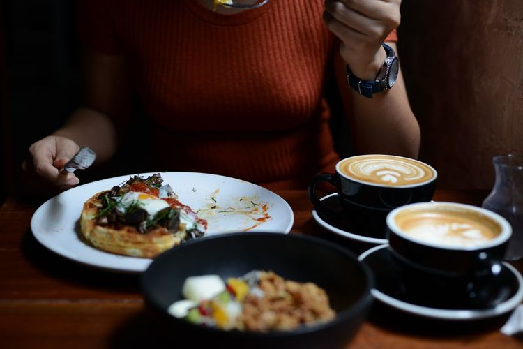 Adults Only Breakfast Time Caffeine Coffee Bar Eating Food And Drink Granola Healthy Eating Healthy Lifestyles Hot Coffee Kuala Lumpur Latte Latte Art Meal Midsection One Woman Only Only Women Plate Ready-to-eat Serving Food And Drinks Vcr Cafe Waffles Women Food Stories