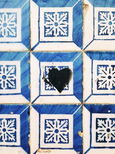 3D Art Art And Craft Backgrounds Blue Close-up Creativity Design Full Frame Geometric Shape Heart Human Representation Indoors  Love Mosaic Multi Colored Pattern Shape Stencil Art Textured  Tile Tiled Wall Tiles Wall Wall - Building Feature