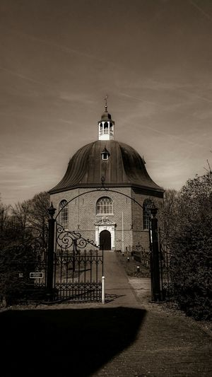 Monumental  Old Church build in 1655, in Monochrome Sepia. Architecture Old Building