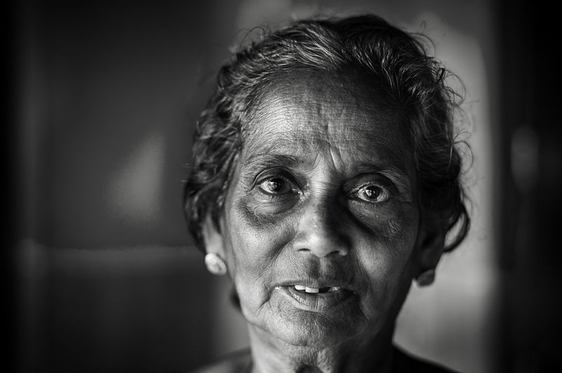 Close-up Emotionless Focus On Foreground Grandma Headshot Human Face Portrait Selective Focus Staring Monochrome Photography