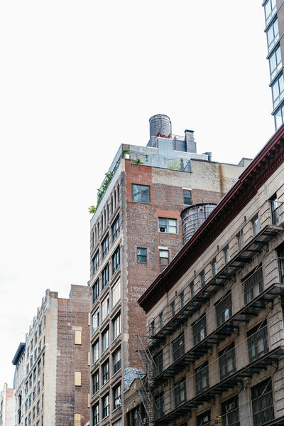 Urban cityscape of NYC City Cityscape New York New York City New York Skyline  USA America Apartment Architecture Brick Building Building Exterior Built Structure City Clear Sky Copy Space Day Low Angle View Nature No People Outdoors Residential District Sky Wall Window
