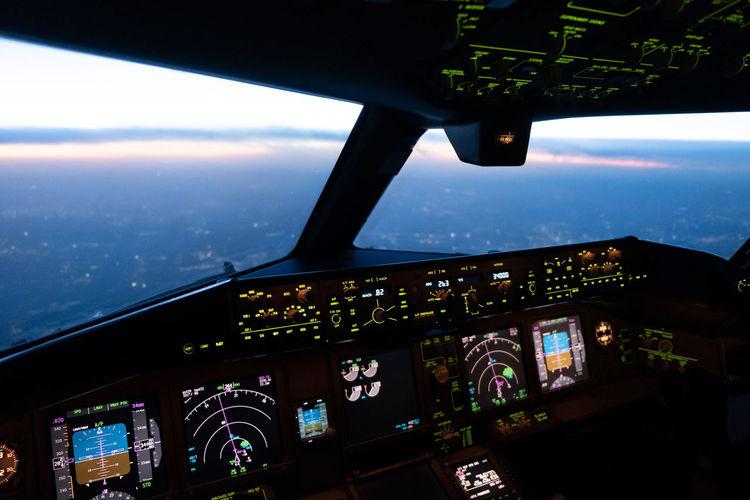 Interior airplane cockpit