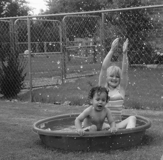 Summer Fun! Beautiful Young And Beautiful Snapshots Of Life Sister And Brother Summer Summertime Kiddiepool Splashing Splash Splashing Water