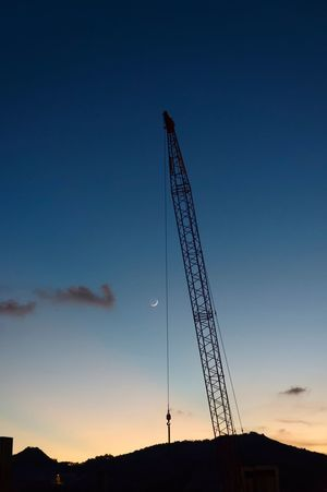 Industrial moonset Construction Site Construction Machinery DSLR Hong Kong Moon Blue Dusk No People Pentax Pentax K-3 Silhouette Sky Sunset The Week On EyeEm