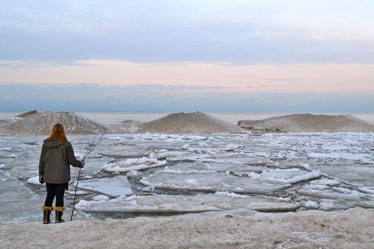 Beach Frozen Frozen Lake Horizon Over Water Ice Lakeontario  Outdoors Sand Sky Water Winter