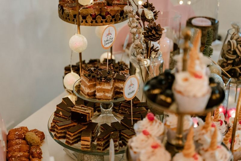Close-up of cupcakes on table at store