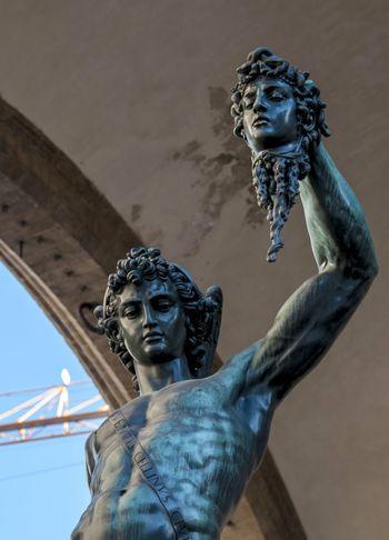 Detail of the statue of Perseus with the head of Medusa, Benvenuto Cellini's work located in the Loggia dei Lanzi in piazza della Signoria in Florence Art Benvenuto Cellini Florence HEAD Loggia Dei Lanzi  Medusa Perseus Sculpture Statue Tourist