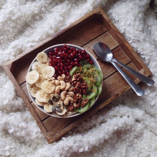 My Favorite Breakfast Moment Morning Breakfast From Above  Healthy Eating Healty Breakfast Bowl Kiwi Bee Pollen  Pomegranate Banana Nuts Minimalism Tablet White Sheets Cozy Home Weekend Indulgence Cashew Vegan Spoon Wooden Vintage Vintage Interior