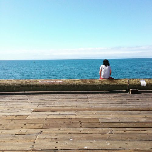 Rear View Of Man Sitting On Log At Pier By Sea Against Sky