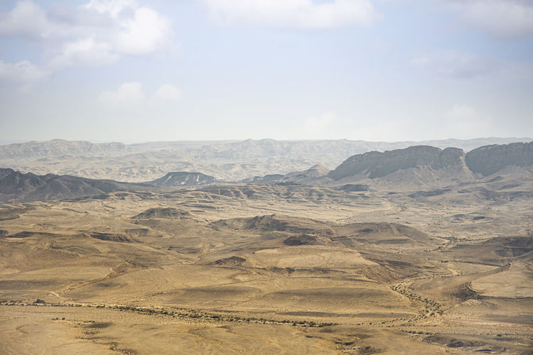 Beautiful dramatic view of the desert. wilderness. nature landscape. makhtesh crater ramon, israel