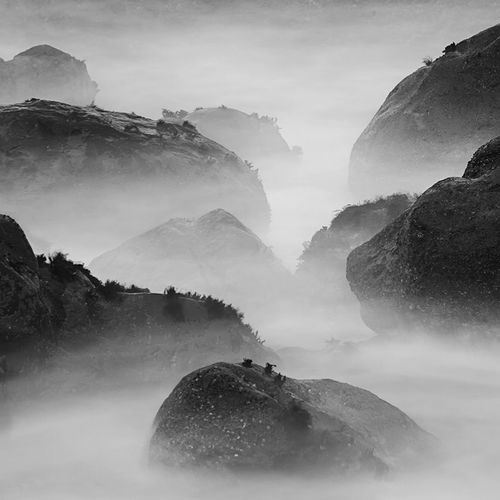 Reef painting Long Exposure Reef Black And White Misty Canyon Beach San Francisco Mile Rock Beach
