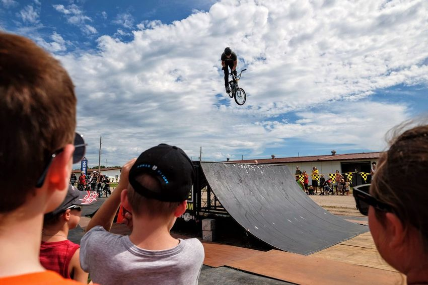 Nowear BMX Team Nebraska State Fair September 1, 2018 Grand Island, Nebraska Camera Work Check This Out Composition Event EyeEm Best Shots FUJIFILM X-T1 Fujinon 10-24mm F4 Getty Images Grand Island, Nebraska Nebraska State Fair NowearBMX Photojournalism Stunt Action Bicycle Bmx  Cloud - Sky Day Enjoyment Extreme Sports Eye For Photography Eyeforphotography Freestyle Group Of People Leisure Activity Lifestyles Males  Men Mid-air Nature Outdoors People Real People RISK S.ramos September 2018 Skateboard Park Skill  Sky Spectator Sport Sports Ramp Stunt Tricks
