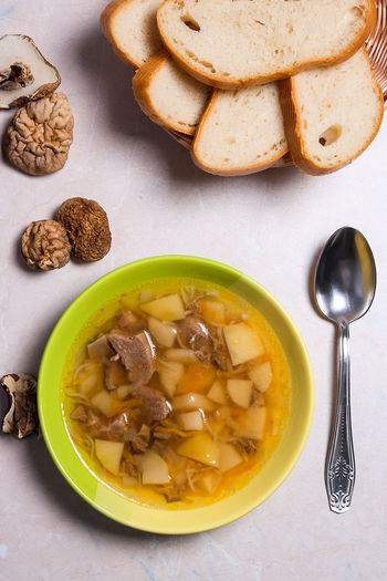 Bowl Bread Directly Above Eating Utensil Food Food And Drink Freshness Healthy Eating High Angle View Indoors  Kitchen Utensil No People Plate Ready-to-eat Soup Soup Bowl Spoon Still Life Table Temptation Vegetable Soup Wellbeing