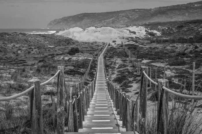Beach Photography Boardwalk Bridge Cascais, Guincho Composition Fence Outdoors Perspective Protected Areas Railing Sand Dunes Sea Sea And Sky Sea_collection Seascape The Way Forward Water Wood Wood - Material Wooden Blackandwhitephotography Black And White Photography Black&white Black & White Black And White