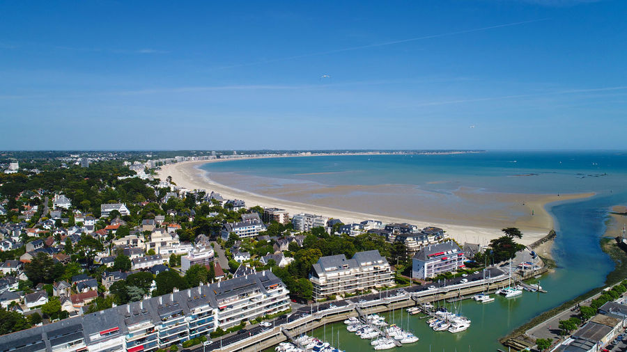 Aerial view of Le Pouliguen city in La Baule bay, Loire Atlantique, France Aerial Photography Aerial View Atlantic Ocean Blue Sky Boats Brittany Buildings Cityscape Photography Coast Coastline Day France French Holiday La Baule Escoublac Landscape Le Pouliguen Loire Atlantique Port Sea Seascape Seaside Summer Travel Destinations Water