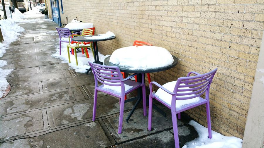It's Cold Outside Ridgewood, NJ Winter Tables And Chairs Tableschairs Street Photography Winter Scene Nearby Check This Out Urban Life
