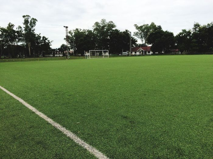 Soccer Field Playing Field Green Color Football Stadium Football Life Football Chiangrai Thailand