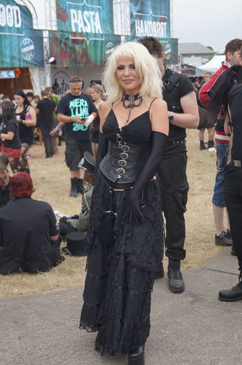 Black Color Day Goth Gothic Style Happiness Lifestyles Mature Women Mera Luna Festival Outdoors Real People Smiling Well-dressed Women