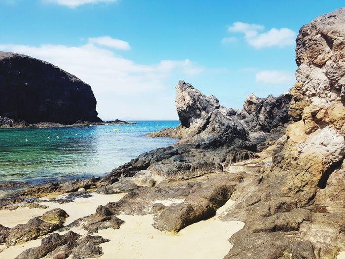 Lanzarote Canary Islands SPAIN Papagayo Ocean Sun Playa Blanca Water Sea Beach UnderSea Sand Wave Rock - Object Sky Horizon Over Water Close-up Cliff Rock Formation Geology Rock Coastline Sea Life
