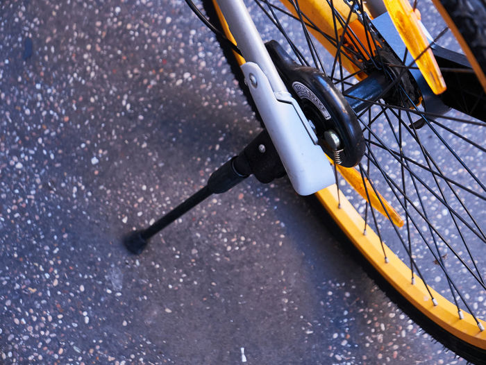 High Angle View Of Bicycle On Road