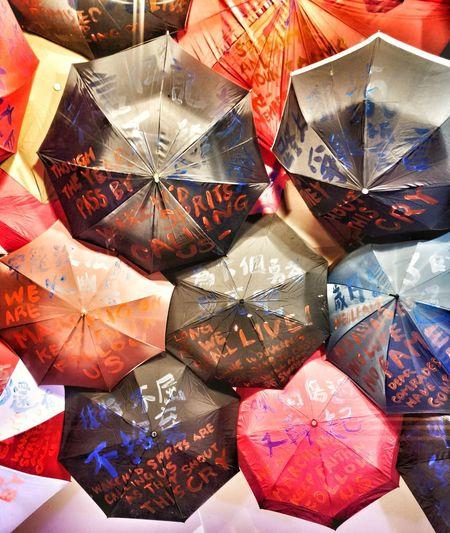 High angle view of multi colored umbrellas