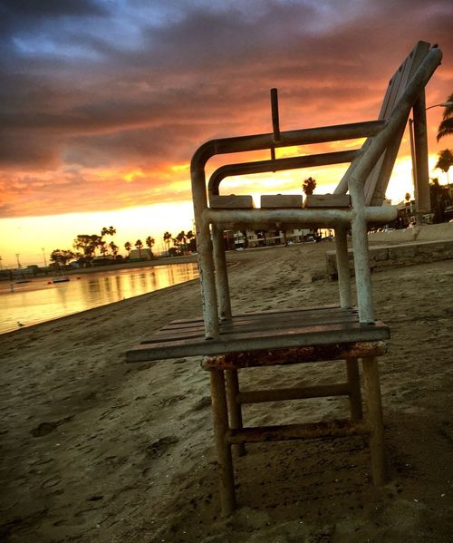 Lifeguard chair at sunset Sunset Sky No People Beach Beauty In Nature Sea Nature Cloud - Sky Horizon Over Water Water Outdoors Day John Wick John Wick Photography Johnwickphotography Beauty In Nature