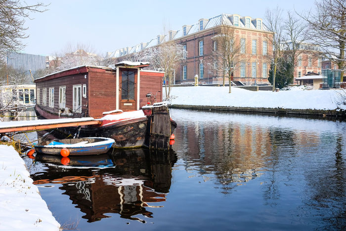 Museum Volkenkunde - Leiden Architecture Boathouse Canal City Cityscape Cold Temperature Day Holland Leiden Museum Nature Netherlands No People Outdoors Reflection Snow Tourism Travel Travel Destinations Water Winter