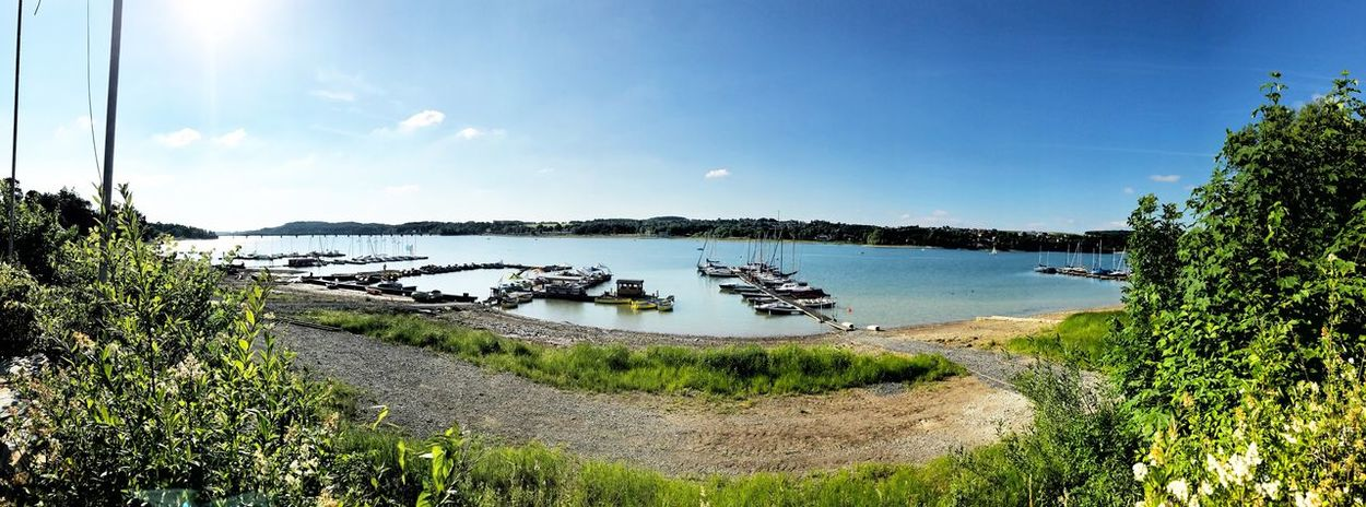 Moehnesee, Panorama South Coast Water Nature Lake Landscape Clouds Boats Landing Stage Summer View North Rhine Westphalia, Germany