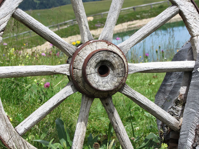 Close-up of abandoned wagon wheel on grassy field