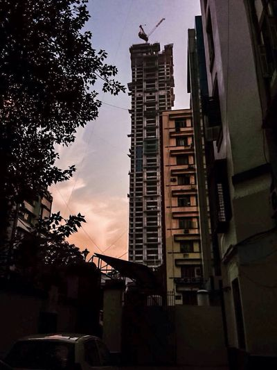 Tallest Building In Kolkata,India ..still In Progress Building Exterior Architecture City Sunset Low Angle View