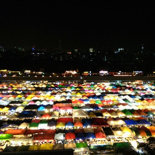 Multi Colored Business Finance And Industry Large Group Of Objects Outdoors Night No People Sky Nightmarketinthailand Nightmarket Bangkok City Bangkok Thailand. Topview Travel Localtravel Local Landmark Local Market