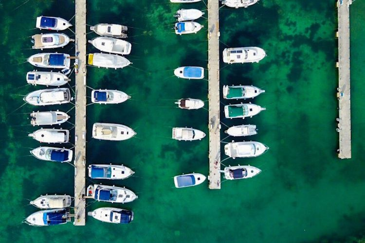 Biograd Croatia In A Row Large Group Of Objects Arrangement Day Architecture Outdoors Building Exterior Built Structure No People Nautical Vessel Water Sky Vertical Usidedown Ortogonal